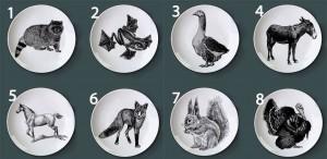 Piatto retrò dipinto a mano animale Puzzle piatto per bambini Pila nera di animali da fattoria Piatto decorativo decorativo divertente per hotel / bar / articoli per la casa