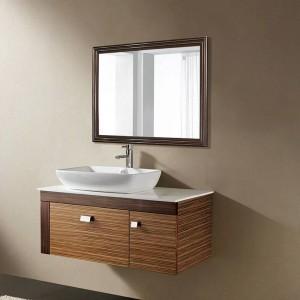 Specchio da toeletta retrò da parete in noce nero con specchio bagno wx8221537
