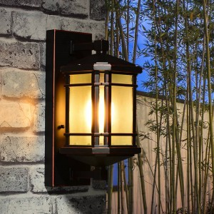 Lampada da parete per esterno in alluminio rustico Balcone Passerella paralume in vetro Illuminazione da giardino impermeabile Applique da parete per esterni antica Villa