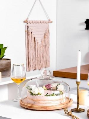 Copertura rotante in vetro trasparente piatto da frutta Copertura da tè pomeridiano Copertura in legno Vassoio West Point Piatto da dessert piatto da dessert