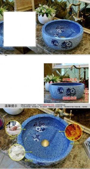 Lavabo da bagno rotondo in ceramica Lavabo da appoggio Lavabo da bagno Lavelli vaso in porcellana blu farfalla