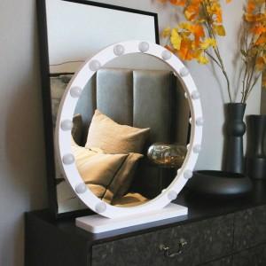 Specchio per trucco grande rotondo con luce specchio professionale per trucco da tavolo professionale HD live fill light specchio stile principessa mx12291632