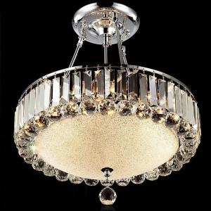 Lampadario di cristallo rotondo moderno Soggiorno Lampada da ristorante a led Lampade di cristallo Plafoniera rotonda a luce Lampada da lavoro Lampadari in vetro