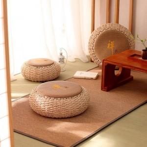 Pouf rotondo Sgabello ottomano Rattan Sedile Pad Pavimento Yoga Cuscino per meditazione Paglia Rustico Tatami Moderno Pouf in maglia Mobili Pouf