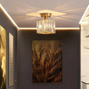 Tromba delle scale rustica Lampada da soffitto a led Portico in cristallo per corridoio corridoio led spotLight Cucina in rame Bar Illuminazione a soffitto