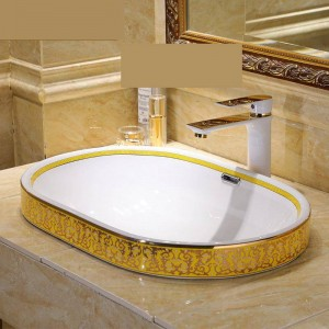 Lavabo semincasso in stile vintage in stile vintage in ceramica Lavabo da appoggio Lavelli da bagno ciotola ovale