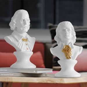 Shakespear & Mozart Head Ritratti Busto Grandi statue in resina per la decorazione domestica Resina Arte e artigianato Scultura Pratica di schizzo
