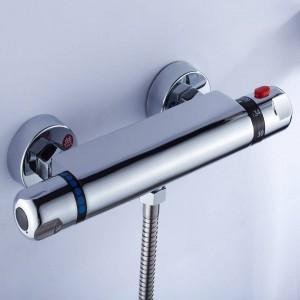 Rubinetto per doccia Cromo Argento Miscelatore per vasca termostatico a parete da parete Doccia tonda Doccia a telefono Miscelatori da bagno Set rubinetti LAD-18046