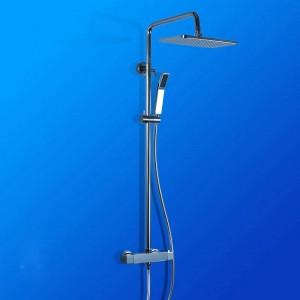 Rubinetti per doccia Ottone Cromato Montaggio a parete Bagno Termostatico Soffione doccia a pioggia Quadrato Barra di scorrimento manuale Miscelatore vasca da bagno JM-758L