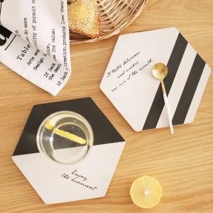 Semplice bianco nero legno bevanda sottobicchiere tazza di caffè tappetino da tè moda pranzo morbido tovagliette in legno accessori decorazione 1 pz