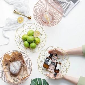 Stile semplice Cesto di frutta in ferro battuto placcato in oro Paniere per uso domestico Creativo Cestino portaoggetti Decorazione Piatto da frutta