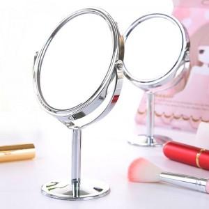 Specchio da tavolo piccolo ovale rotondo da tavolo specchio da tavolo semplice da donna in metallo Specchio di cortesia bifacciale girevole mx318094