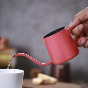 Piccola caffettiera in acciaio inossidabile con moka Pentola a goccia lunga Bollitore schiumogeno Caraffa per il latte Mini TeaPot Caffettiera espresso 250ml 350ml