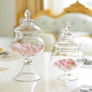 Piccolo vaso di vetro trasparente Candy soggiorno Decorazione Serbatoio di stoccaggio layout negozio di nozze Lattine di vetro zuccheriera