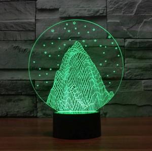 Luce da montagna 3D a forma di montagna di neve, lampada da tavolo USB a led in acrilico colorato 3D con luce natalizia per regali di Natale per bambini