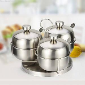 Combinazione di barattoli di spezie Agitatori di pepe e spezie rotanti in acciaio inossidabile 304 Set di barattoli di sale Scatola da cucina Contenitore per condimenti