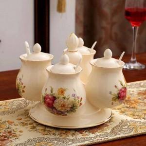 Combinazione di barattoli di spezie Agitatori di pepe e spezie in ceramica rotanti Set di barattoli di sale Scatola da cucina Contenitore per condimenti