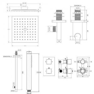 """Deviatore da bagno termostatico a scomparsa termostatico quadrato SG2003 da 8 """""""