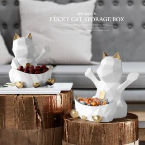 Statua in resina per decorazione di cerimonia nuziale Scatola da parete per caramelle Dado Geometrico Lucky Cat Figurine Decorativo per la casa