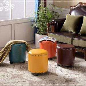 Sgabello Tessuto di lino + Poggiapiedi in legno Sedia Divano Mobili Pouf Home Decor Panca Sgabello in pelle americana Sgabello stile country