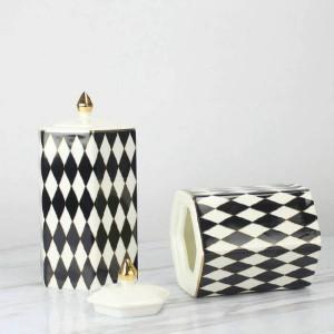 Serbatoio decorativo bianco e nero diamante plaid vaso di ceramica decorazione decorazione della casa