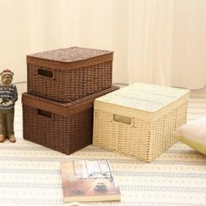 Surabilus tessuto in paglia contenitore piccola camera da letto scatola di immagazzinaggio scatola di finitura scatola di immagazzinaggio scatola di libri coperta
