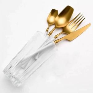 Set di posate Set di posate in acciaio inossidabile Set di posate per alimenti occidentali Set di posate per coltelli da cucina con cucchiaino da forchetta di lusso Trasporto di goccia