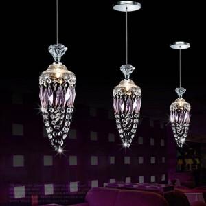 Camera da letto per ragazzi Sospensione in cristallo viola per sala da pranzo Ristorante Bar moderno Decorazione di nozze Lampada viola Cristal G4
