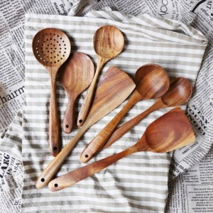 Cucchiaio da cucina in legno naturale di teak naturale Thailandia Cucchiaio Mestolo lungo Riso Scrematrice Cucchiai Cucchiaio Set di utensili da cucina fatti a mano