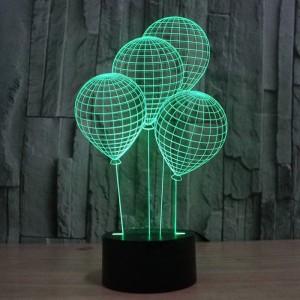 La luce notturna a forma di palloncino 3D con interruttore a sfioramento LED acrilico 7 colori auto cambia lampada illusione 3D per lampada da tavolo deco per le vacanze