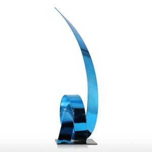 The Blue Rising Ribbon Metal Sculpture Iron Modern Sculpture Abstract Figurine Artigianato Statue per la decorazione Ornamento