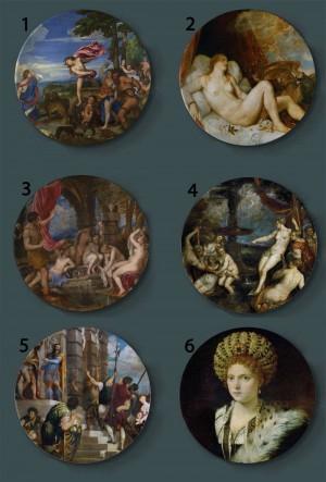 Tiziano Vecellio Pittura Piatti decorativi Piatto artistico domestico in ceramica Esposizione di sfondo hotel Piatto di pittura a olio della scuola di Venezia