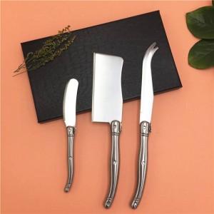 Per incontrare 3PCS Kit coltello da formaggio Spalmatore a sandwich Set di coltelli da burro Strumenti affettatrice per formaggio in stile Laguiole in acciaio inossidabile