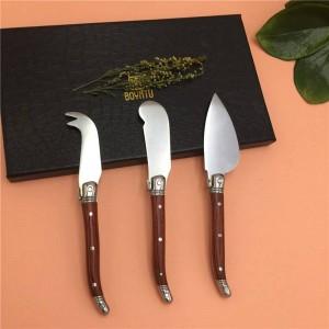Per incontrare 3PCS Kit coltello per formaggio Spalmatore per panini Set di coltelli per burro in palissandro Coltello per affettati in acciaio inossidabile stile Laguiole