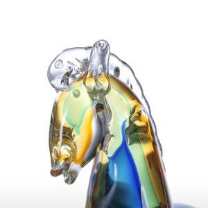 Blue Fantastic Horse Figurine in vetro Feng Shui Figurine Decorazioni per la casa Bomboniere Regalo Decorazione artigianale in vetro per la casa