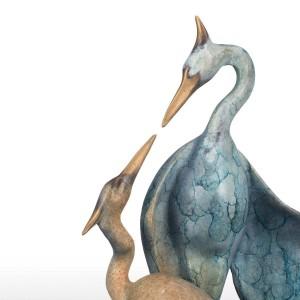 Doppia gru in bronzo Feng Shui figurina forma estetica figurina animale gru di rame regalo artigianale decorazione della casa