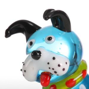 Mini animali in vetro figurine per animali domestici decorazioni per la casa Statuette per cani accovacciate blu moderne Accessori per la decorazione domestica per regalo
