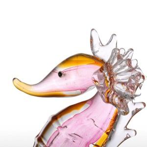 Statuette ornamentali in vetro Statuetta animale Cavalluccio marino Cavalluccio soffiato Accessori per la decorazione della casa Regalo Decorazioni per la casa Rosa e giallo
