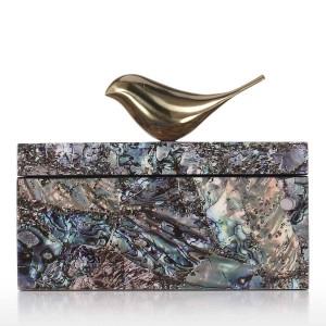Portagioie con uccello in rame Trinket in legno Decorazione Anello Scatola Scatola portaoggetti Regali di compleanno per donna Velluto nero