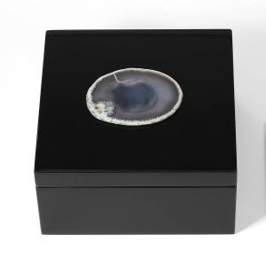 Portagioie Collana con anello in legno Scatola di immagazzinaggio Regalo di compleanno per donna Decorazione per la casa Scatola regalo Scatola per gioielli Velluto nero