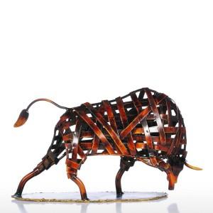 Statuetta del bestiame di tessitura del metallo Statuetta di scultura in ferro rosso Arte Figurina Moderna decorazione della casa Accessori Artigianato animale