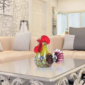 Scultura in vetro multicolore in gallo Figurina animale Decorazioni per la casa Ornamento Regalo Artigianato Decorazioni in miniatura figurine