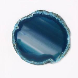Scatola portagioie rettangolare (agata blu) Anello decorativo in legno con agata Collana Scatola di immagazzinaggio Regali di compleanno Velluto nero