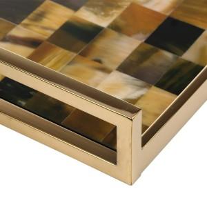 Vassoio rettangolare con strisce di corno (piccole dimensioni) Piano in legno Tecnologia di verniciatura Vassoio del tè Vassoio della frutta Vassoio del caffè