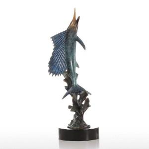 Figurina Salifish fuori dall'acqua Figurina di bronzo fatta a mano Europa Art Home Decor Artigianato Regalo per la casa
