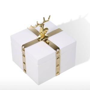 TOOARTS Scatola portagioie quadrata Scatola portaoggetti in legno bianco Anello Scatola portaoggetti Regali di compleanno per donna Scatola regalo in velluto nero