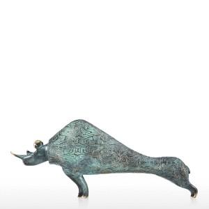 statua moderna Rinoceronte Scultura Statua in bronzo realizzata a mano Decorativa da tavolo Rinoceronte Regalo ideale per la decorazione domestica