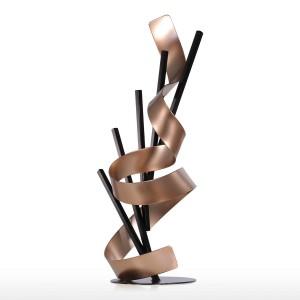 Linea retta e nastro Scultura astratta moderna in metallo Decorazioni per la casa Regalo di Capodanno Accessori per la casa Figurine