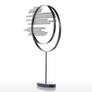 Illustrazione concisa moderna moderna della scultura moderna del cerchio del ferro della scultura del ferro dell'ornamento della foglia di acero