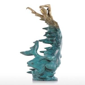 Statua in bronzo a sirena piccola scultura in stile moderno Decorazioni per la casa Animale per ufficio e accessori per la decorazione domestica